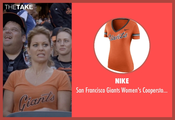 Nike orange t-shirt from Fuller House seen with D.J. Tanner-Fuller (Candace Cameron Bure)