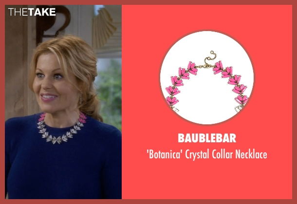 BaubleBar pink necklace from Fuller House seen with D.J. Tanner-Fuller (Candace Cameron Bure)