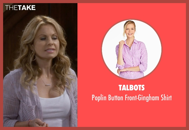 Talbots pink shirt from Fuller House seen with D.J. Tanner-Fuller (Candace Cameron Bure)