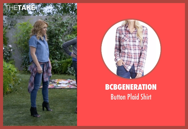 BCBGeneration pink shirt from Fuller House seen with D.J. Tanner-Fuller (Candace Cameron Bure)
