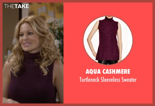 Aqua Cashmere purple sweater from Fuller House seen with D.J. Tanner-Fuller (Candace Cameron Bure)