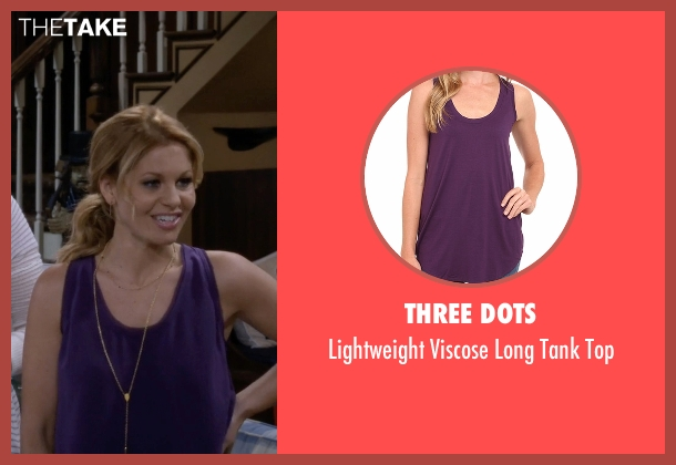 Three Dots purple top from Fuller House seen with D.J. Tanner-Fuller (Candace Cameron Bure)