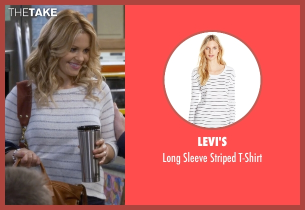 Levi's white t-shirt from Fuller House seen with D.J. Tanner-Fuller (Candace Cameron Bure)