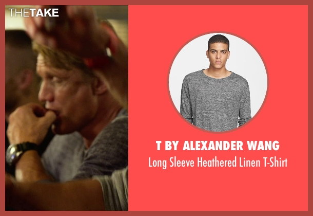 T by Alexander Wang gray t-shirt from The Expendables 3 seen with Dolph Lundgren (Gunner Jensen)