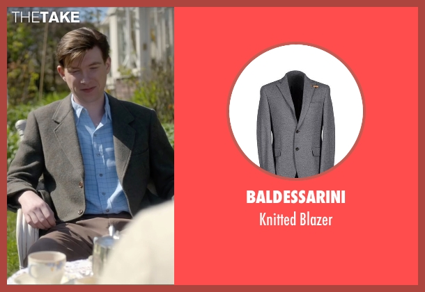 Baldessarini gray blazer from Brooklyn seen with Domhnall Gleeson (Jim Farrell)