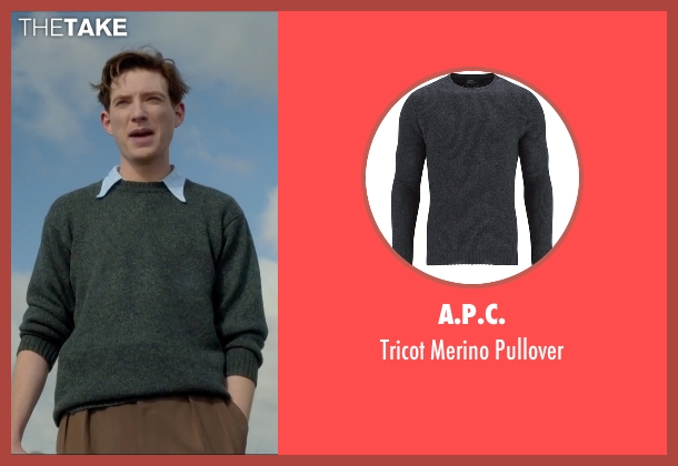 A.P.C. gray pullover from Brooklyn seen with Domhnall Gleeson (Jim Farrell)