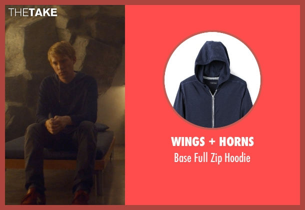 Wings + Horns blue hoodie from Ex Machina seen with Domhnall Gleeson (Caleb)