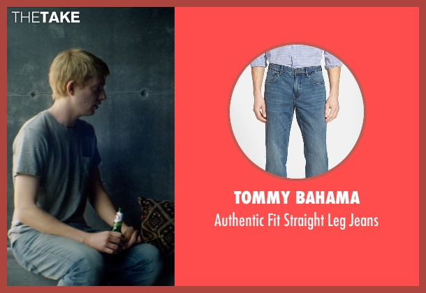 Tommy Bahama blue jeans from Ex Machina seen with Domhnall Gleeson (Caleb)