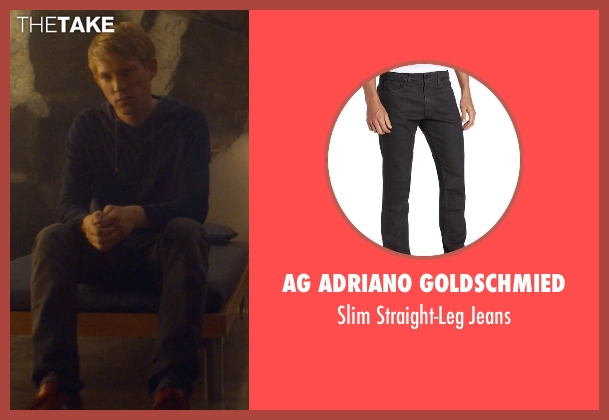 AG Adriano Goldschmied gray jeans from Ex Machina seen with Domhnall Gleeson (Caleb)
