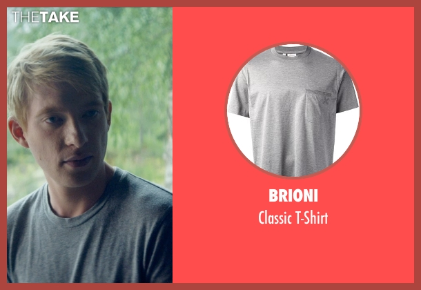 Brioni gray t-shirt from Ex Machina seen with Domhnall Gleeson (Caleb)