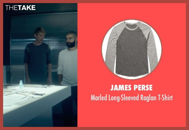 James Perse gray t-shirt from Ex Machina seen with Domhnall Gleeson (Caleb)