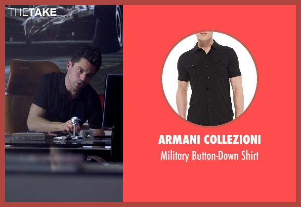 Armani Collezioni	 black shirt from Need for Speed seen with Dominic Cooper (Dino Brewster)