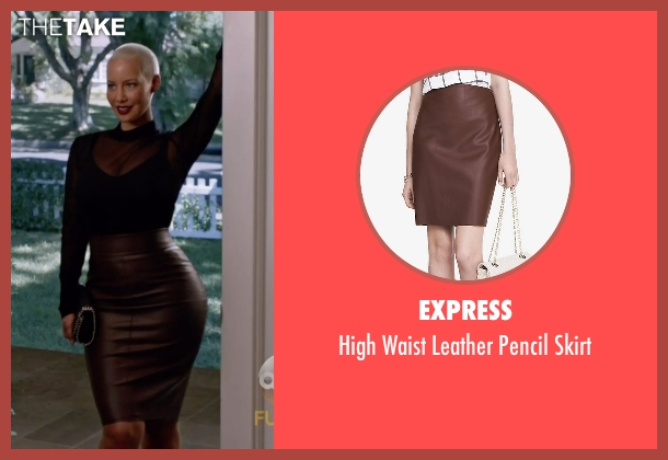 Express brown skirt from Black-ish seen with Dominique (Amber Rose)