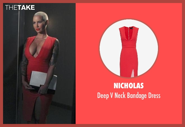 Nicholas red dress from Black-ish seen with Dominique (Amber Rose)