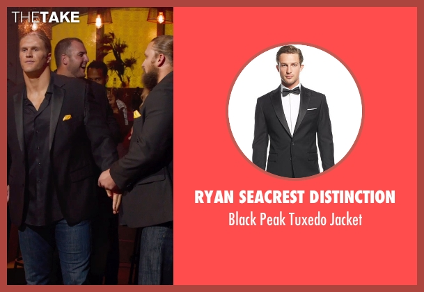 Ryan Seacrest Distinction black jacket from Pitch Perfect 2 seen with Don Barclay (Football Player)