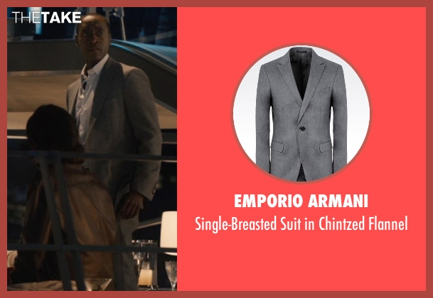 Emporio Armani gray flannel from Avengers: Age of Ultron seen with Don Cheadle (Colonel James Rhodes / War Machine)