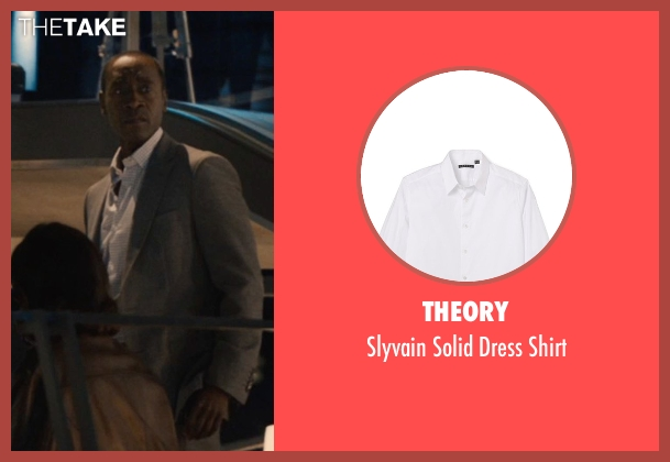 Theory white shirt from Avengers: Age of Ultron seen with Don Cheadle (Colonel James Rhodes / War Machine)
