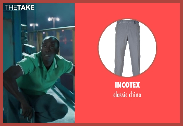 INCOTEX gray chino from Iron Man 3 seen with Don Cheadle (Colonel James Rhodes / War Machine)