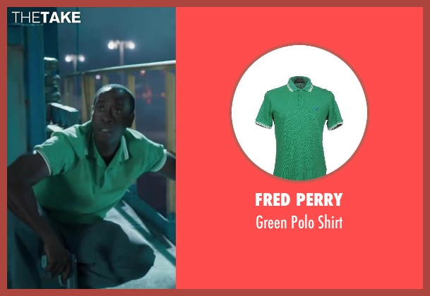 Fred Perry green shirt from Iron Man 3 seen with Don Cheadle (Colonel James Rhodes / War Machine)