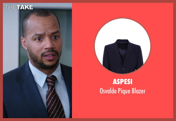 Aspesi blue blazer from Wish I Was Here seen with Donald Faison
