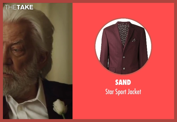 Sand red jacket from The Hunger Games: Catching Fire seen with Donald Sutherland (President Snow)
