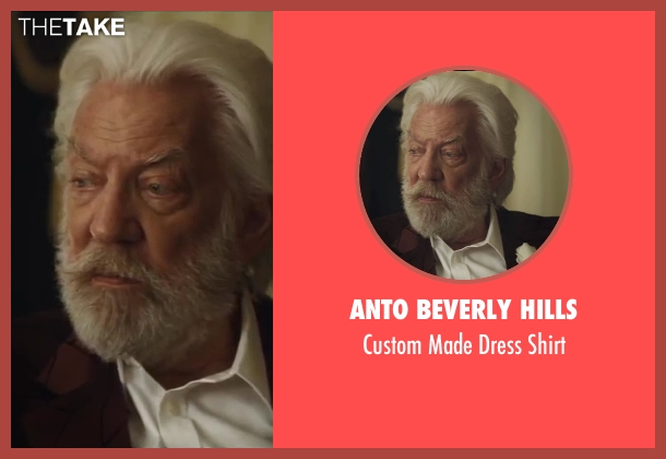 Anto Beverly Hills white shirt from The Hunger Games: Catching Fire seen with Donald Sutherland (President Snow)
