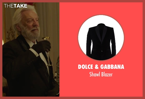 Dolce & Gabbana black blazer from The Hunger Games: Mockingjay - Part 2 seen with Donald Sutherland (President Snow)