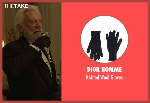 Dior Homme black gloves from The Hunger Games: Mockingjay - Part 2 seen with Donald Sutherland (President Snow)