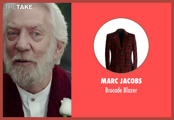 Marc Jacobs red blazer from The Hunger Games: Mockingjay - Part 2 seen with Donald Sutherland (President Snow)
