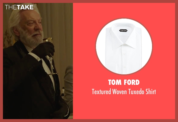 Tom Ford white shirt from The Hunger Games: Mockingjay - Part 2 seen with Donald Sutherland (President Snow)