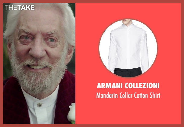 Armani Collezioni white shirt from The Hunger Games: Mockingjay - Part 2 seen with Donald Sutherland (President Snow)