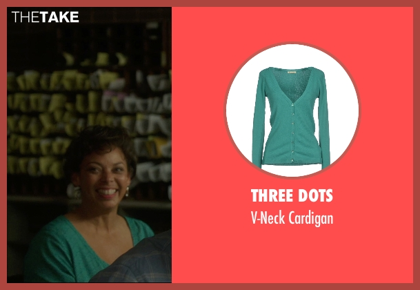 Three Dots green cardigan from The D Train seen with Donna Duplantier (Taj)
