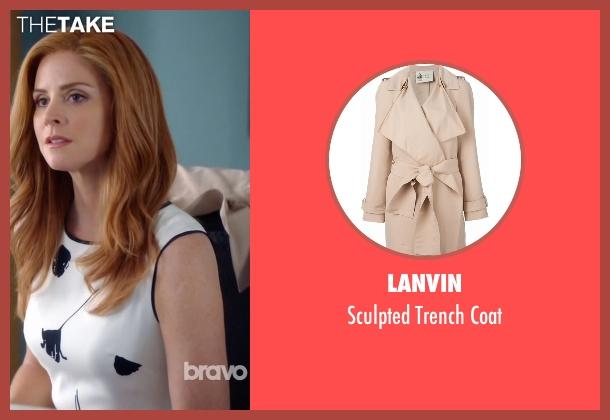 Lanvin beige coat from Suits seen with Donna Roberta Paulsen (Sarah Rafferty)