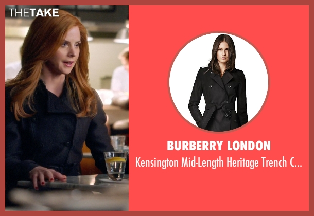 Burberry London black coat from Suits seen with Donna Roberta Paulsen (Sarah Rafferty)