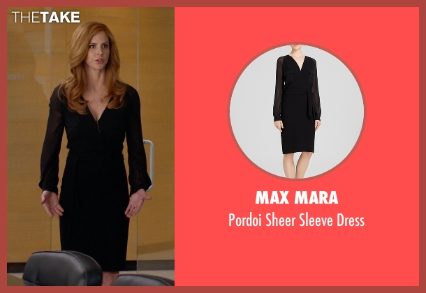 Max Mara black dress from Suits seen with Donna Roberta Paulsen (Sarah Rafferty)