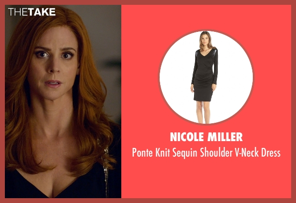Nicole Miller black dress from Suits seen with Donna Roberta Paulsen (Sarah Rafferty)