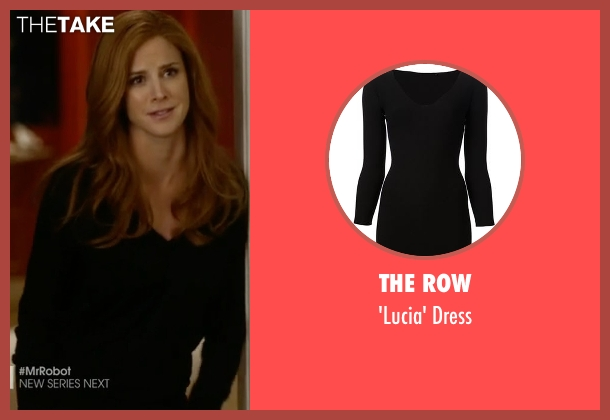 The Row black dress from Suits seen with Donna Roberta Paulsen (Sarah Rafferty)