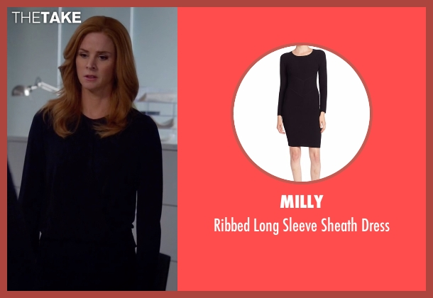 Milly black dress from Suits seen with Donna Roberta Paulsen (Sarah Rafferty)