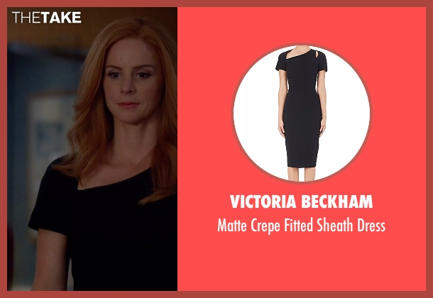 Victoria Beckham black dress from Suits seen with Donna Roberta Paulsen (Sarah Rafferty)
