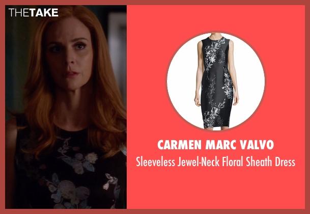 Carmen Marc Valvo black dress from Suits seen with Donna Roberta Paulsen (Sarah Rafferty)