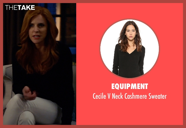 Equipment black sweater from Suits seen with Donna Roberta Paulsen (Sarah Rafferty)