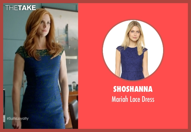 Shoshanna blue dress from Suits seen with Donna Roberta Paulsen (Sarah Rafferty)