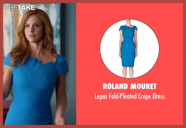 Roland Mouret	 blue dress from Suits seen with Donna Roberta Paulsen (Sarah Rafferty)