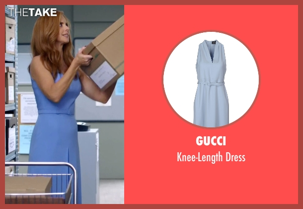 Gucci blue dress from Suits seen with Donna Roberta Paulsen (Sarah Rafferty)