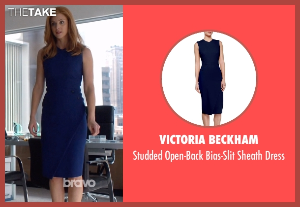 Victoria Beckham blue dress from Suits seen with Donna Roberta Paulsen (Sarah Rafferty)