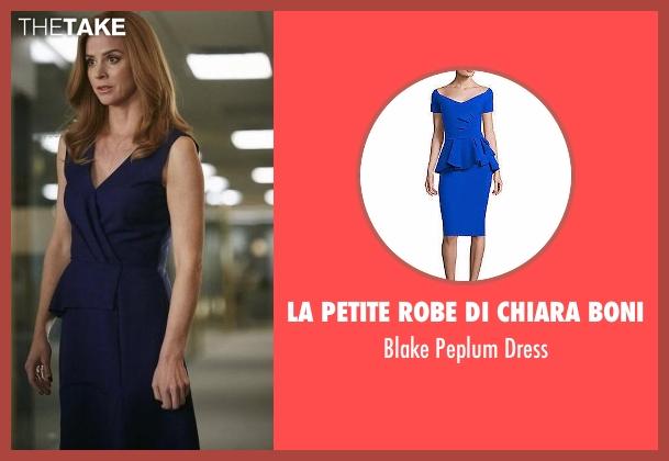 Christian Dior blue dress from Suits seen with Donna Roberta Paulsen (Sarah Rafferty)