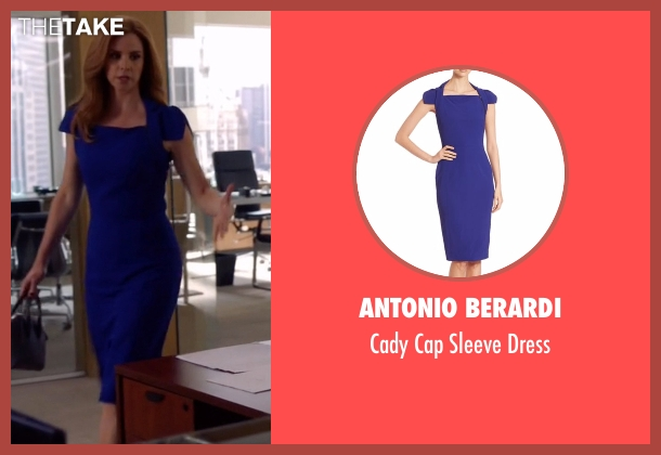 Antonio Berardi blue dress from Suits seen with Donna Roberta Paulsen (Sarah Rafferty)