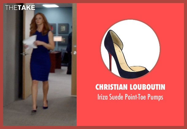 Christian Louboutin blue pumps from Suits seen with Donna Roberta Paulsen (Sarah Rafferty)