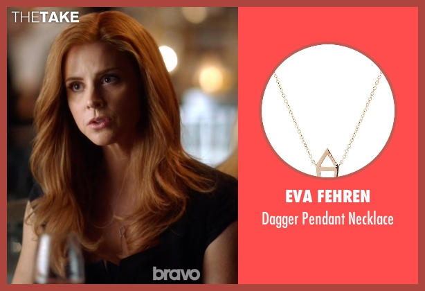 Eva Fehren gold necklace from Suits seen with Donna Roberta Paulsen (Sarah Rafferty)