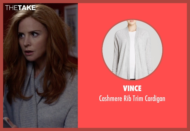Vince gray cardigan from Suits seen with Donna Roberta Paulsen (Sarah Rafferty)